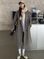 Women's Wool & Blends Saliency Korean Fashion Autumn Winter 2021 Loose Wild Temperament Long Woolen Coat Thick Vintage Jacket Ins Tide