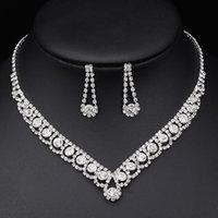 Rhinestone Crystal Bridal Jewelry Sets for Women Necklace Earrings Set Wedding Jewelrys Accessories