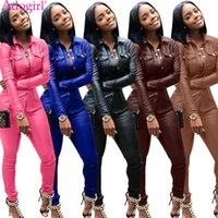 Women's Tracksuits Adogirl Plus Size S-3XL Women Solid PU Leather Two Piece Set Long Sleeve Shirt Top Pencil Pants Fashion Casual Suit Cloth
