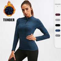 Yoga Outfit Autumn Winter Women Jacket Velvet Workout Long Sleeve Shirt Elastic Running Gym Fitness Quick Drying Sportswear Sweatshirt