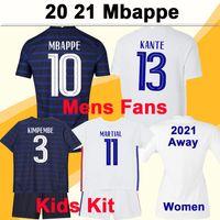 2021 Mbappe Griezmann Benzema Mens Futebol Jerseys Pogba Giroud Kante Kit Kit Kits Home Away Camisa de Futebol Versão Jogador Pavard Dembele Tolisso Mulheres Fãs