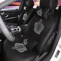 Car Seat Covers Diamond Rhinestone Crown Auto Summer Breathable Interior Single Cover Cushion Pad Mat