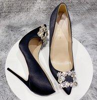 Toptan Kadın Ayakkabı Kırmızı Dipleri Yüksek Topuklu 8 cm 10 cm 12 cm Büyük Boy EU34 ila 45 Sivri Toes Pompaları Koyu Mor Saten Elmas Kare Toka Gerçek İpek Düğün Gelin Siyah