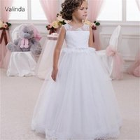 Girl's Dresses Holy First Communion Little Princess White Flower Girls Dress For Wedding Birthday Pageant Formal Gown