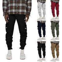 6 Renkler Erkek Pantolon Joggers Hip Hop Tulum Fermuar Cep Tasarım Rahat Açık Uzun Pantolon Streetwear