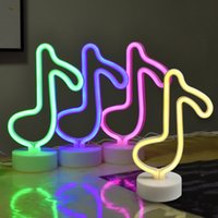 Creative LED Music Shape Neon Night Light Battery Power & USB Table Nights Lamp For Kids Rooms Bedroom Party Decoration