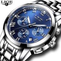 Armbanduhren Top Marque de luxe lige hommes quarz-montre en acier inoxydable bande noir horloge chronographe montres relogio masc