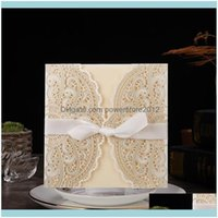 Event Festive Home & Garden10Pcs Lot Ivory Laser Cut Elegant Wedding Invitations Card Lace Greeting Custom With Ribbon Birthday Party Suppli