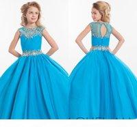 2020 Rachel Allan Girls Pageant Dresses Teens 환영 목 뚜껑 슬리브 크리스탈 비드 핑크 긴 파티 아이 꽃 소녀 가운 Hy1138