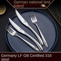 الألمانية SSGP الغربية أدوات المائدة شوكة ملعقة 316 الفولاذ المقاوم للصدأ السكاكين الراقية ستيك مجموعة عشاء مجموعات