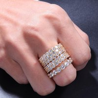 New Hip Hop Bling Mens Womens Jewelry Rings Gold Silver Double Row Zircon Diamond Engagement Iced Out Rings