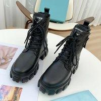 Mujeres Monolith Fur Boot Boots Nylon Boots Rois Cuero Tobillo Combate con la bolsa Moda Battle Zapatos de caucho Suela de goma Tamaño 35-40