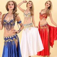 رقص الشرقي زي للسيدات الذهب الأحمر 2 قطع (البرازيلي + حزام) تناسب المرأة المهنية قاعة المؤنث الملابس التنافسية DN2030 مرحلة ارتداء