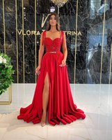 A Line Long Ruched Side Split Prom Dresses with Sash Beaded Sweetheart Spaghetti Women Special Occasion Formal Evening Gowns