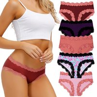 5Pack Seamless Women's Panties Super Soft Mid Rise Briefs For Women Sexy Lace Nylon Silky Plus Size Female Lingrie 2021