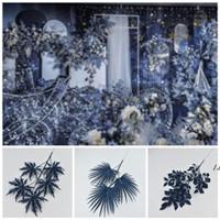 الاصطناعي الزهور الزفاف ديكور الزفاف الأزرق الداكن سلسلة أنماط مختلفة السرخس العشب زهرة صف مواد حفلات الزفاف المركزية DWA4480