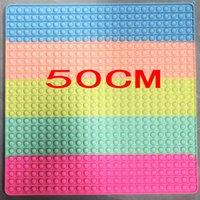 50 * 50 cm super grande push push fidget brinquedos bolhas gigantes mega jumbo arco-íris dedo quebra-cabeça sensorial com chaveiro