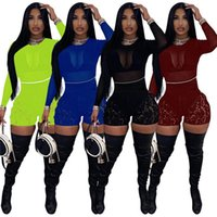 Women's Tracksuits Cutubly Sexy Club Party Women Short Set Mesh Long Sleeve Crop Top And Lace Shorts Birthday Two Piece For
