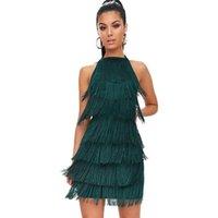 Sexy Frauen Quaste Detail Halterneck Bodycon-Kleid Sleeveless Backless Sommer für Nachtclub Ausgehen Kleider Vestido Casual