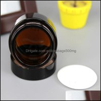 Office School Business & Industrialbrown Amber Packing Bottles Glass Cream Jar Black Lid 515 30 50 100G Cosmetic Packaging Sample Eye Creams