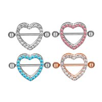 D0985 (5 colors ) Nice Stone Heart style NIPPLE ring piercing jewelry 20 pcs Pink color stone drop piercing body jewelry shipping