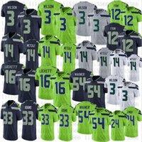 Herren Frauen 3 Russell Wilson Jersey Fußball Jugend 14 dk Metcalf 33 Jamal Adams 54 Bobby Wagner 16 Tyler Lockett-Trikots Nähte Größe S-XXXL