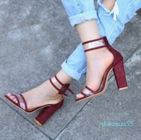Elegant Cool Fashion Women Pumps Summer Breathable Snake Brand Peep Toe Female High Heels Pumps Buckle Strap Flock Pumps--1