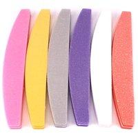 60pcs 스폰지 샌드페이퍼 네일 파일 매니큐어 버퍼 블록 다채로운 보트 샌딩 폼 에머리 보드 라임