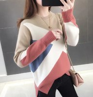 Autumn and Winter 2019 New sweater Slim Bottom Shirt Long Sleeve Tight Knitted Thickening white