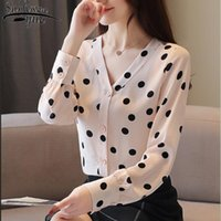 Outono chiffon blusa sexy v-pescoço manga comprida mulheres tops blusas mujer de moda 2021 roupas de bolinhas 5371 50 blusas femininas camisas