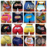 Verão Mulheres Shorts Snacker Designer Respirável Booty Bodycon Mini Gushers Booty Yoga Calças Curtas Cartas Padrão Impresso Skinny 103 estilos