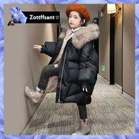 Down Coat Winter Fashion Girls Hooded Jacket Kids Snowsuit Thick Outerwear Outdoor Warm Faux Fur Collar Coats Long Parka Snow Wear