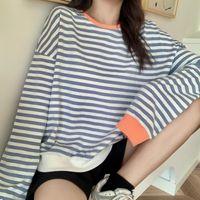 Women's Blouses & Shirts Women Fashion Black And White Striped Blouse Shirt Casual Long Sleeve O-neck Soft Korean Ladies T-Shirt Spring 2021
