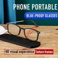 Sunglasses KAEDEK Reading Glasses TR90 Stainless Steel Half Frame Anti-Reflective Unisex Women Men Optical Mirror Presbyopia Eyewear Case