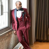Men's Suits & Blazers Burgundy Three Pieces Mens Slim Fit Costume Homme Grooms Tuxedos Shawl Lapel Formal Blazer Prom Suit (Jacket+Pants+Pan