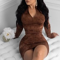 Casual Dresses Long Sleeve Evening Club Sexy Elegant Bodice Female Clothing Pleated Party Women Plus Size Fashion Street Wear