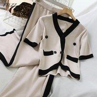 Duas peças vestido ftlzz 2021 mulheres pretas conjunto de malha elegante manga curta v-pescoço casual camisas e calças soltas 2 outono