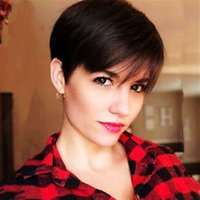 Pixie Cut Straight Short Bob Wigs Natural Color Brazilian Remy Human Hair With Bangs Full Machine Wig For Black Women