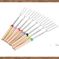 New8pcs / set u type bbq forks Кемпинг Крепки из нержавеющей стали Деревянная ручка Телескопическая барбекю жареные вилочные палочки шампуры барбекю EWE7511