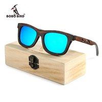 Occhiali da sole Bobo Bird Donne Legno Design creativo Gambe di vetro con lente polarizzate blu UV400 BG006 come Best PresponsU825