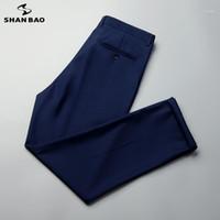 Shan Bao marque costume hommes pantalons 2020 Automne Business Business Gentleman Banquet de mariage DROIT LOOSE PLATEAU BIG TAILLE 6XL 7XL 8XL 9XL1