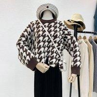 Женские свитеры Директризованные 2021 Кореи моды Дамы Полный рукав Женщины вязание Свитер Плед О-Шеи Пуловер Джим