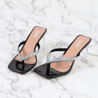Slippers 2021 Summer Net Red Fashion Square Diamond High Heel Sandals Female Sexy Transparent Thick Large Size
