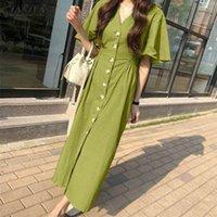 Casual Dresses Womens Fitting Pleated Kaftan ZANZEA Solid V Neck Vestido Fashion Flare Sleeve 2021 Summer Daily Long Shirt Dress