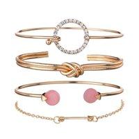 Модные завязанные круг стрелка четырех частей наборы браслеты для женщин роскошный простой модный браслет браслет браслет браслет подарок ювелирных изделий