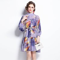 2021 Fashion Chiffon Chic Purple Dress Runway Designer Autumn Winter Long Sleeve Mock Neck Holiday Prom Office Ladies A-Line Dresses Business Party Women Clothes