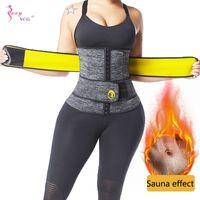 Sexywg الخصر المدرب ساونا العرق حزام التخسيس النمذجة حزام للنساء فقدان الوزن الجسم المشكل تجريب اللياقة المتقلب cincher 210329
