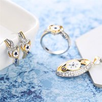 Earrings & Necklace Boho Female Star Crystal Jewelry Set Charm Gold Silver Color Wedding Clip For Women Cute Love Heart Chain Ring