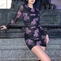 Casual Dresses GothGotik Sexy See-through Blouses For Woman Gothic Style Purple Dragon Print Mini Dress Long Sleeve Club Party Outfit Summer