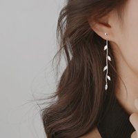 Dangle & Chandelier Crystal Silver Color Leaf Needle Willow Earrings Female Fashion Jewelry Temperament Simple Long Tassel For Women Gifts